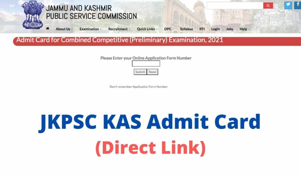 JKPSC KAS Admit Card 2021 Download CCE Prelims Direct LINK at jkpsc.nic.in