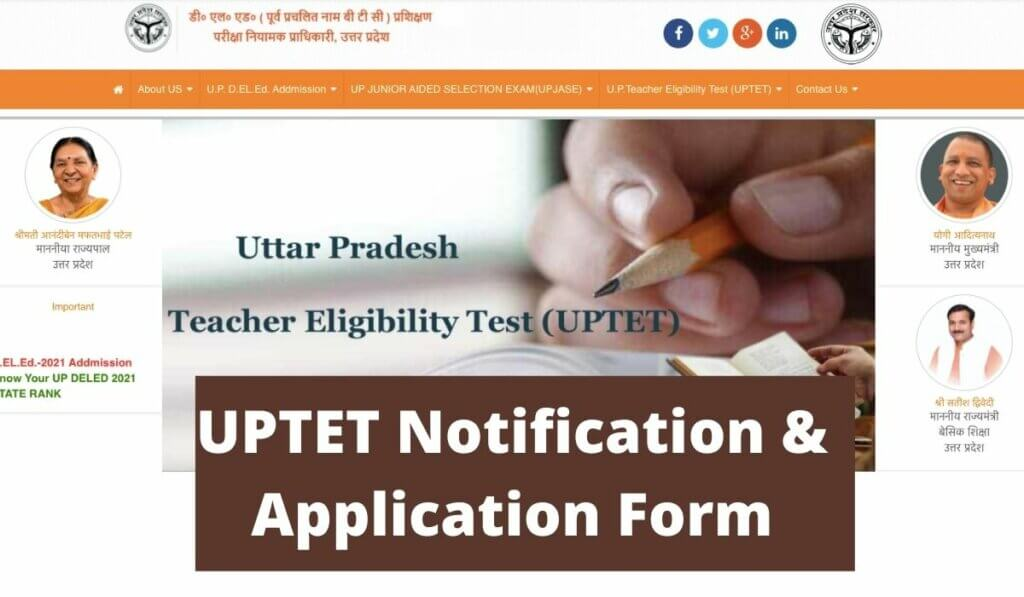 UPTET Notification 2021 Application Form, Eligibility, Exam Date