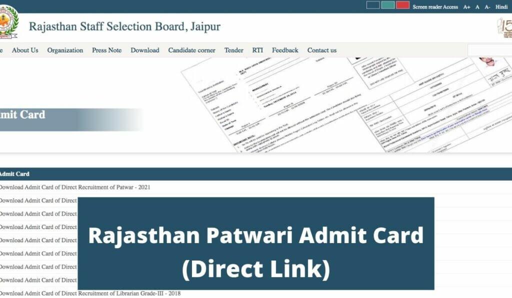 rsmssb.rajasthan.gov.in Patwari Admit Card 2021 Download Direct LINK